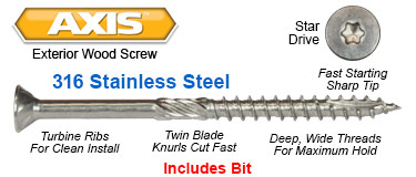 axis interior wood screws
